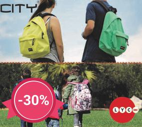 30% discount for backpacks, school bags and suitcases LYCSAC, CiTY